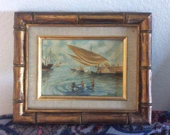 Miniature art, miniature paintingi, Original oil painting, antique painting, miniature oil painting, signed by artist,