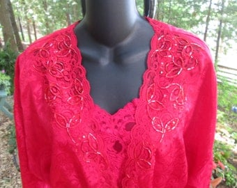 Vintage Victorias Secret lipstick red short gown and sequined robe. One size fits all size large. Beautifullycrafted and condition