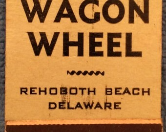 Wagon Wheel Front Strike Matchbook Rehoboth Beach Delaware Pinup Girlie National Press Match Co. Chicago 1940s