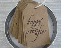 Kraft Tags, Wedding Favor Tag, Rustic Favor Tag, Homemade Tag, Bridal Shower, Wedding Favors, Happy Ever After Tag, Handmade Primitive Tag