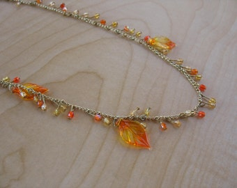 Autumn Fire Crystal Charm and Leaf Necklace