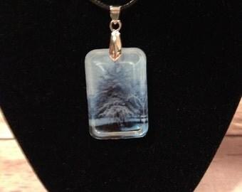 Winter blue photo resin pendant necklace Handmade