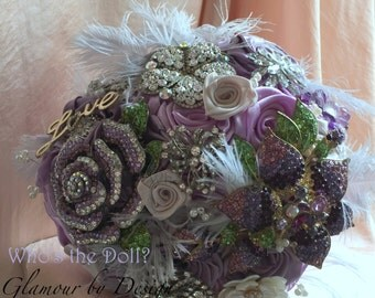 Brooch bouquet/Wedding bouquet/bridal bouquet/Fabric bouquet/Vintage style bouquet/My Sweet Violet/Made to Order