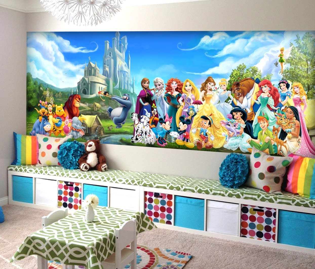 Disney characters wall mural vinyl mural wallpaper wall for Character mural