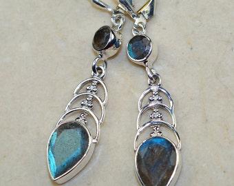 Labradorite  & 925 Sterling Silver Earrings
