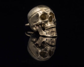 Human Skull Pendant, brass, handmade, with moving jaw and opening top
