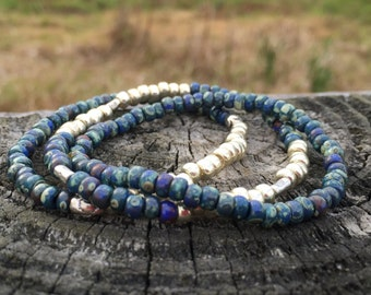 Beaded Stretch Bracelet Set of 3 in Marbled Bluetones and Silver / Starry Night Stax