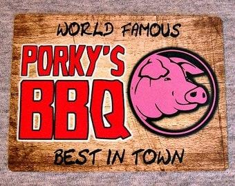 Magnet  PORKY'S BBQ barbecue grill shack pit restaurant smoker master griller smoking meat barby barbie pulled pork refrigerator magnets