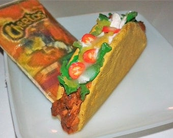 """Chicken or Beef Taco, Chips and Drink fit's with American girl 18"""" Dolls, Lunch for Doll's, Doll Lunch, 18 inch Doll Food"""