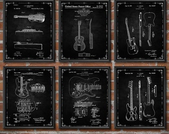 Guitar Decor - Set of 6 - Guitar Wall Art - Guitar Prints Patent Print - Patent Wall Art Poster Sports Decor 1436