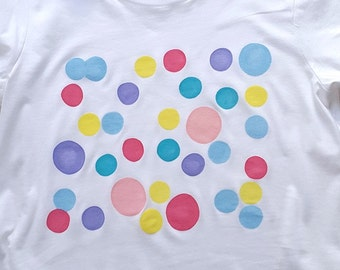 BUBBLES; Hand Painted, Women's T-Shirt, Rolled Up Sleeve T-Shirt, organic cotton, Free Shipping