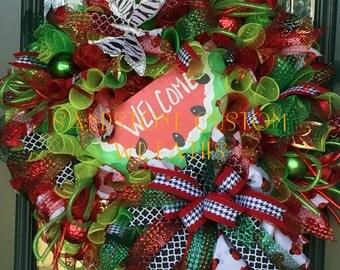 Summer, Spring, Welcome, Watermelon, Deco Mesh, Wreath