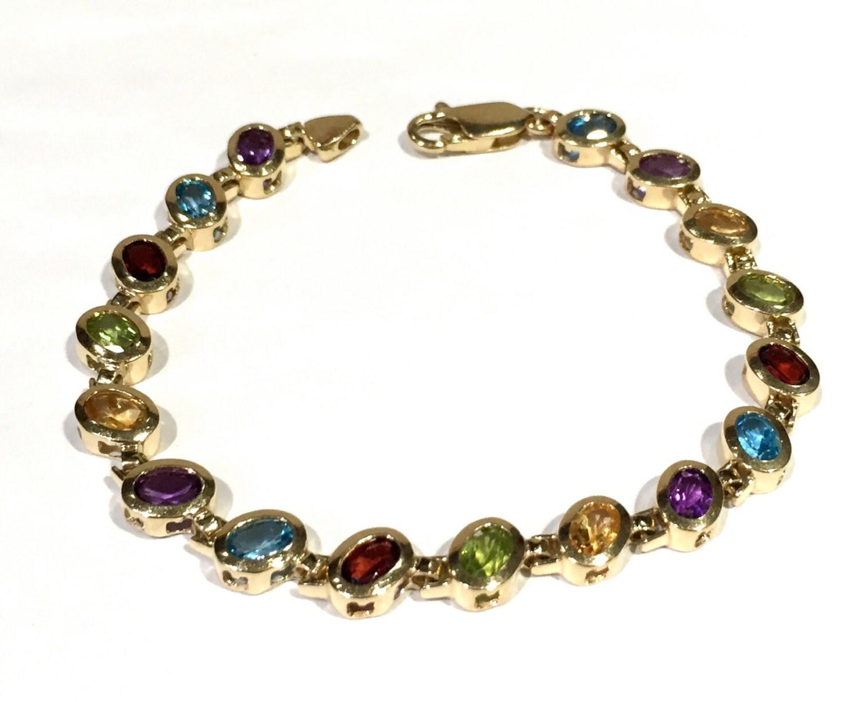 gemstone tennis bracelet 14k yellow gold with