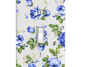 Light Switch Cover - Blue Rose Pattern
