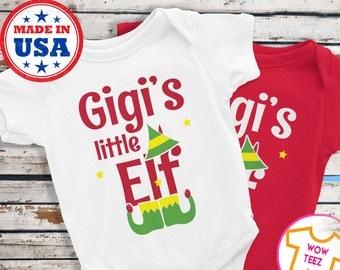 Baby Christmas bodysuit, Gigi bodysuit, Gigi's Little Elf, baby bodysuit grandma, grandma baby shower, gigi gift christmas