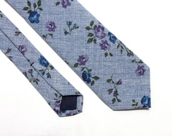 Blue Floral Chambray Tie - Men's Blue Skinny Tie - Women's Flower Tie - Blue and Purple Skinny Tie