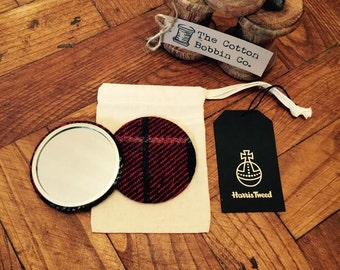Harris Tweed Red and Black Pocket Mirror Large 77mm & Authenticity Tags  Cotton Bag Stocking filler Luxury Tweed Gifts for Her Gifts for Mum