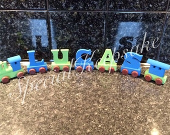 Personalised Wooden Linked Train Name Christening Birthday New Baby Gift Choo Engine Unique Gift