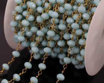 Fashion Light Blue Faceted Glass Bead Rosary Style Chain,amazonite Rondelle Gold Plated Wire Wrapped Brass Rosary Chains Necklace