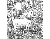 Instant digital download - christmas coloring page - Christmas scene, reindeer doodle
