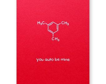 Auto Be Mine Valentine Card   Car Automobile Love Card   Chemistry Valentine  Love Card