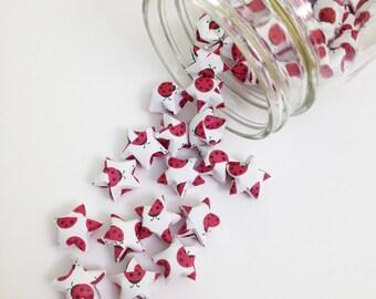 48 Ladybug Origami Stars: Lady Bug - Ladybird - Mini Stars - Origami Star Decorations - Folded Paper Stars - Lucky Stars - Red and White