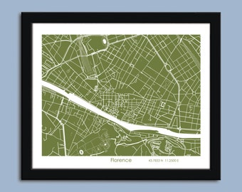 Florence map, Florence city map art, Florence wall art poster, Florence decorative map
