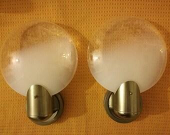 Leucos sconce Nason Mazzega era sconce pair opaline glass made in Italy 1960s
