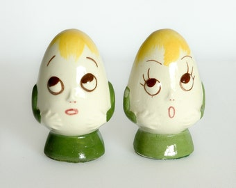 Vintage Anthropomorphic Egg People Ceramic Salt and Pepper Shakers