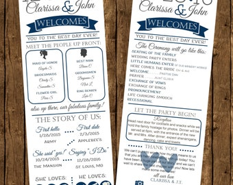 Printed Infographic Wedding Programs, Printed Programs, Fun Wedding Programs, Ceremony Programs, Printed Programs