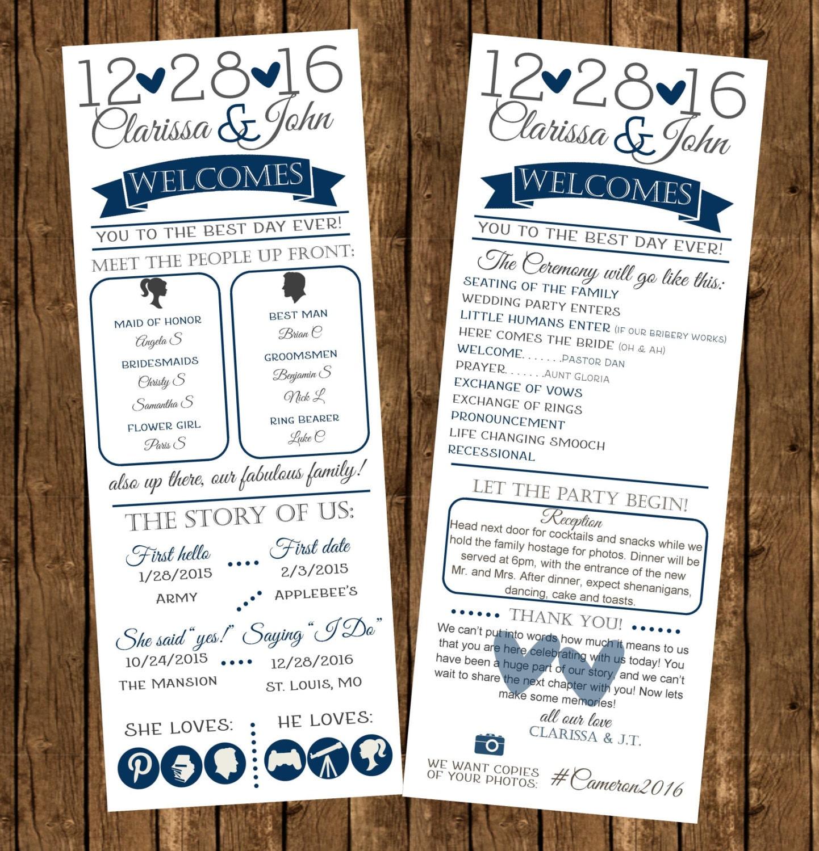 Printed infographic wedding programs printed programs fun for Wedding program info