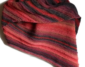 Red, Pink and Grey Hand Knit Asymmetric Shawl or Wrap