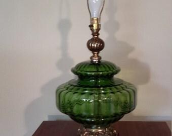 Mid Century Green Glass Globe Table Lamp