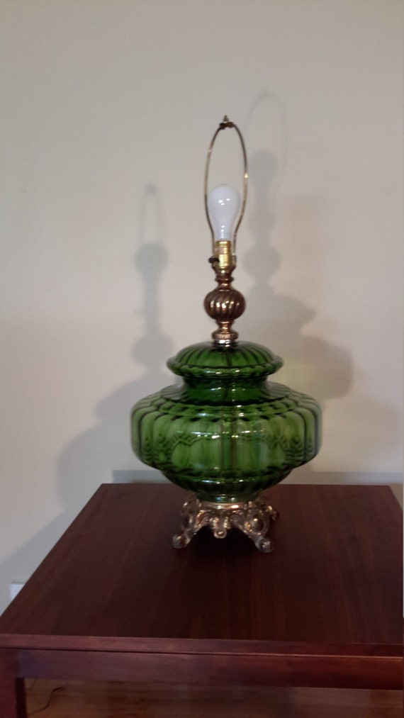 mid century green glass globe table lamp by prorefinefurnishings. Black Bedroom Furniture Sets. Home Design Ideas