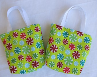 Set of 2 Christmas Fabric Gift Bags/ Secret Santa Bags/ Holiday Goody Bags- Candy on Green