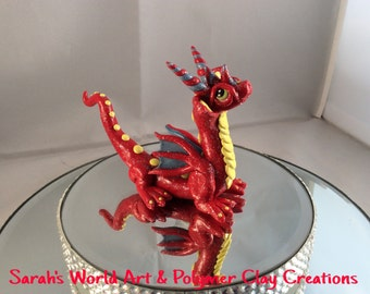 Polymer clay red, yellow & blue dragon