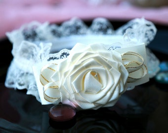 Ivory Garter Wedding Lace Garter  Ivory Wedding Garter  Ivory simple garter Ivory bridal garter Ivory Wedding