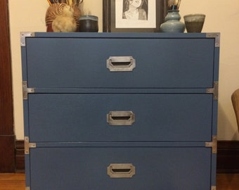 Blue Campaign Dresser with Silver Hardware