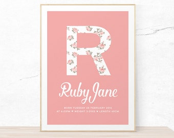 Girls floral baby name print // Modern custom name print with birth details // customised for you! Name and birth details print