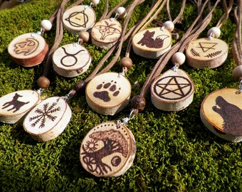 Wood Burned Necklace- Therian Animal Totem Guide Runes Zodiac Wiccan Pagan