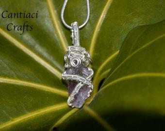 Amethyst sterling silver woven pendant