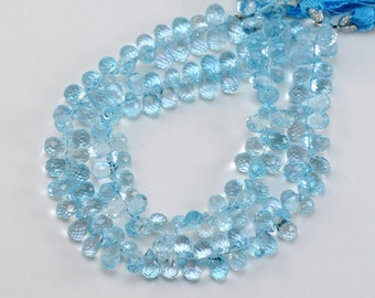 AAA Swiss Blue Topaz, Faceted Briolette, 6x9mm, 1pair