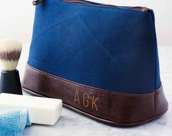 Personalised Men's Wash Bag. Men's Toiletries Bag. Father's Day Gift. Canvas Wash Bag. Gifts for Men. Personalized Father's Day Gift.