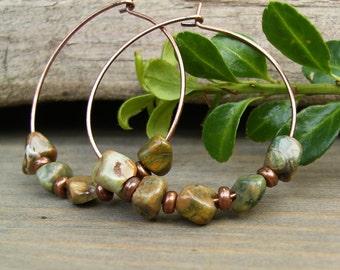 Gemstone Hoop Earrings, Green Stone Earrings, Rainforest Jasper Pebbles, Rhyolite, Antique Copper, Earthy Earrings, Organic, Boho Chic, Gift