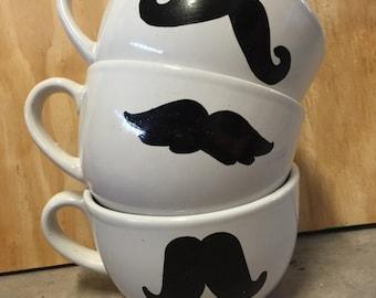 Mustache large mug sets