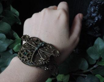 """Bracelet """"Mechanical Dragonfly"""" steampunk inspiration"""