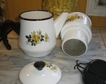 French vintage enamel coffee pot outline white black yellow flower.