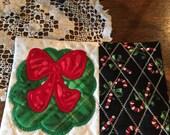 Christmas Mug Rug, Christmas Coaster, Table Decoration, Stocking Stuffer, Christmas Gift, Hostess Gift, Christmas Wreath, Candy Cane