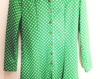 Emerald Green Polka Dot Vintage Dress 70's