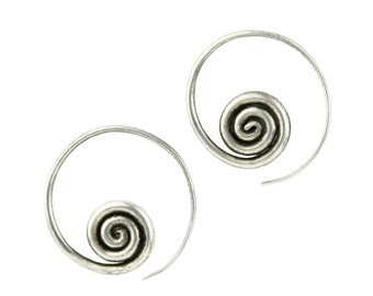 CUBOX  White Copper and Silver Rings Handmade Earrings